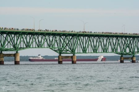 Mackinac Bridge People And Roger Blough Freighter-4410