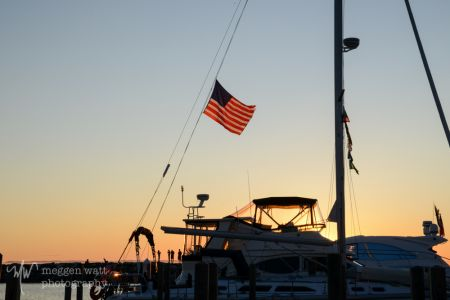 Sunset Leland Harbor Flag-1320